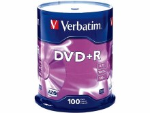 Verbatim DVD+R 16X Non-Printable Spindle Pack of 100