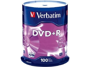 Verbatim DVD+R 16X Non-Printable Spindle Pack of 100