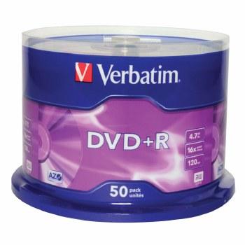 Verbatim 43550 4.7GB 16x DVD+R Matt Silver - 50 Pack Spindle