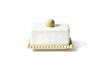 White Pebble Beaded Butter Dish