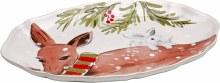 Casafina Deer Friends Linen Small Oval Platter