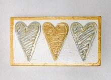 10x6 3 heart gold silver block