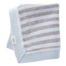 Blue/Grey Stripe Knit Blanket