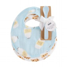 Blue Milk Muslin Bib With Spoon