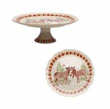 Casafina Deer Friends Linen Pedastal Plate