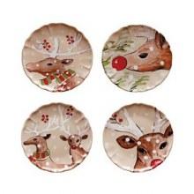Casafina Deer Friends Linen Dinner Plate Set of 4