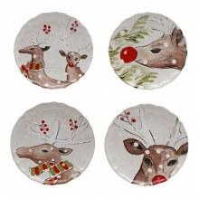 Casafina Deer Friends Linen Salad Plate Set Of 4