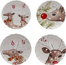 Casafina Deer Friends White Dinner Plate Set of 4