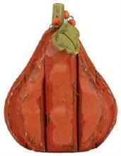"Wooden Gourd Orange Mini 12"" Tall"