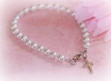 Rhodium Cross Bracelet