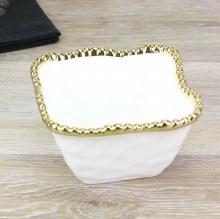 White Gold Square Snack Bowl