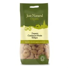 Just Natural Organic Org Cashews Whole 500g