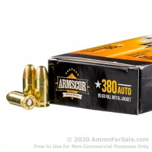.380 ACP / 95 grain FMJ  Armscor 100ct