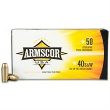.40 S&W / 180 grain. FMJ  Armscor 100ct