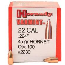 .22 Caliber 45gr Hornet Hornady #2230 100/bx