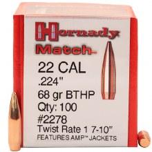 .22 Caliber 68gr BT Hornady #2278 100/bx
