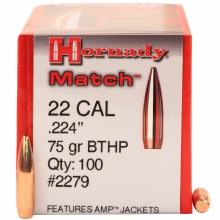 .22 Caliber 75gr BTHP Hornady #2279 100/bx
