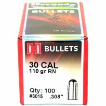 .30 Caliber 110gr RN Hornady #3015 100/bx
