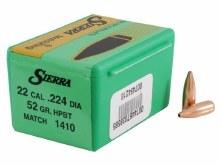 .22 Caliber    52gr HPBT Sierra #1410