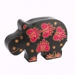 Leather Hippo Coin Bank