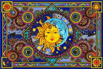 Sun Moon Clock Tapestry