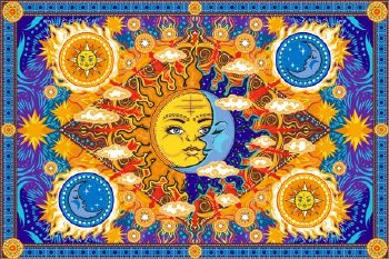 Fire Sun Moon Tapestry