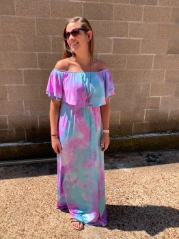 Tie Dyed Off the Shoulder Maxi Dress