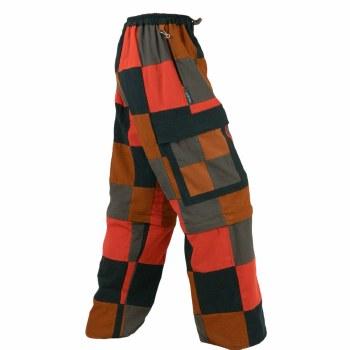 Patchwork Cotton Zip Off Pants Brown