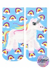 Glitter Unicorn Pinata Ankle Socks