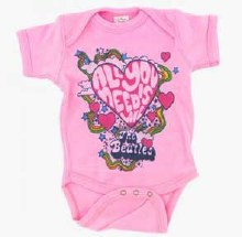 The Beatles Kids Need Love Pink Onesie