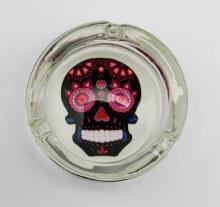 Black Sugar Skull Glass Ashtray