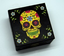 Day of the Dead Yellow Sugar Skull Mirror Box