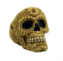 Bone Color Floral Skull Ashtray