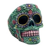 Aqua Floral Skull Ashtray
