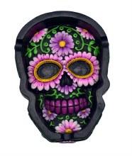 Black Floral Skull Flat Ashtray