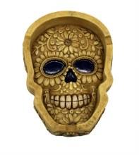 Bone Color Floral Skull Flat Ashtray