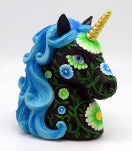 Black and Blue Floral Unicron Coin Bank