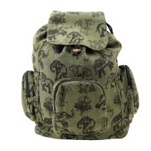 Elephant Print Green Backpack