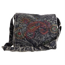 Dark Wash Embroidered Paisley Crossbody