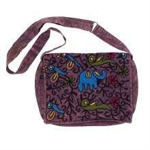 Embroidered Elephant Messenger Bag