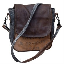 Leather and Canvas Messenger Bag by Clea Ray