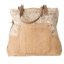 Cream Floral Tote Bag by Clea Ray