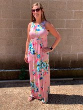 Dusty Pink Floral Maxi Dress