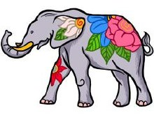 Elephant Floral Patch
