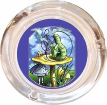 Alice with Caterpillar Glass Ashtray