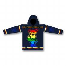 Grateful Dead Alpaca Rainbow Dancing Bear Navy Alpaca Jacket