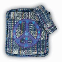 Embroidered Peace Sign Leaf Ikat Cotton Bag