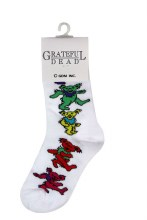 Grateful Dead Dancing Bears Ladies White Socks