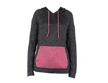 Carefree Threads Black Heathered Hooded Top