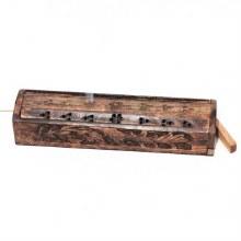 Carved Mango Wood Slide Top Incense Burner